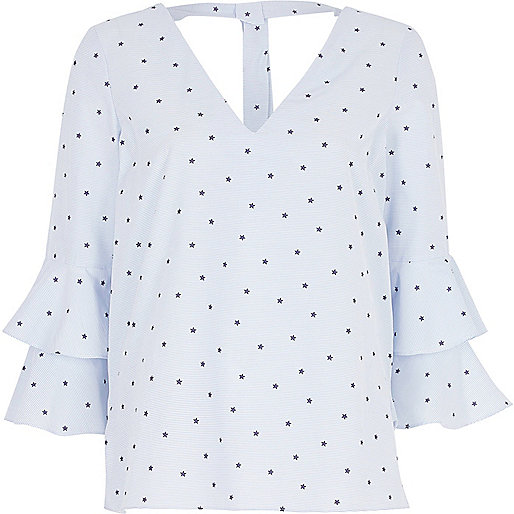 Blue stripe star print double bell sleeve top