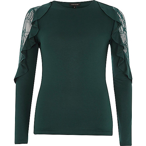 Dark green frill lace sleeve top