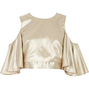 Cream metallic cold shoulder frill sleeve top