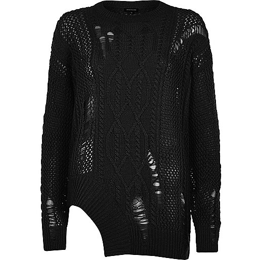 Black cable knit ladder cut out hem sweater