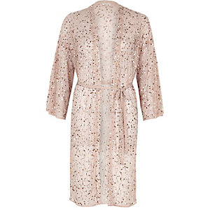 Light pink sequin embellished belted kimono