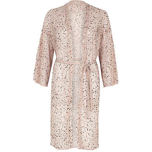 Light pink sequin embellished belted kimono