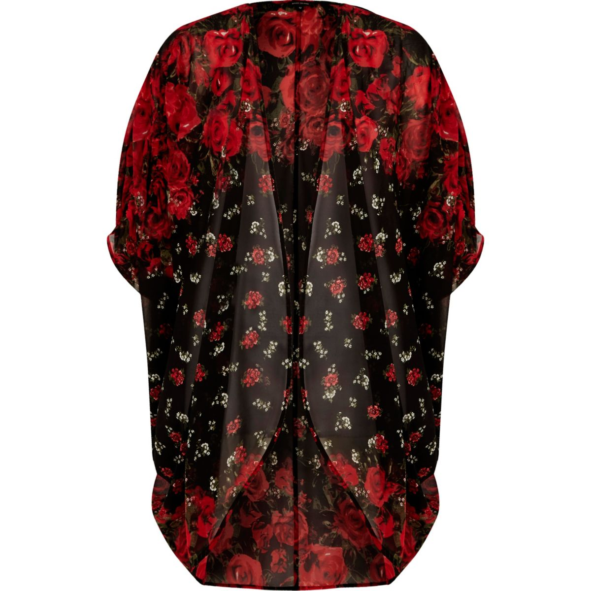 Red floral print longline cardigan