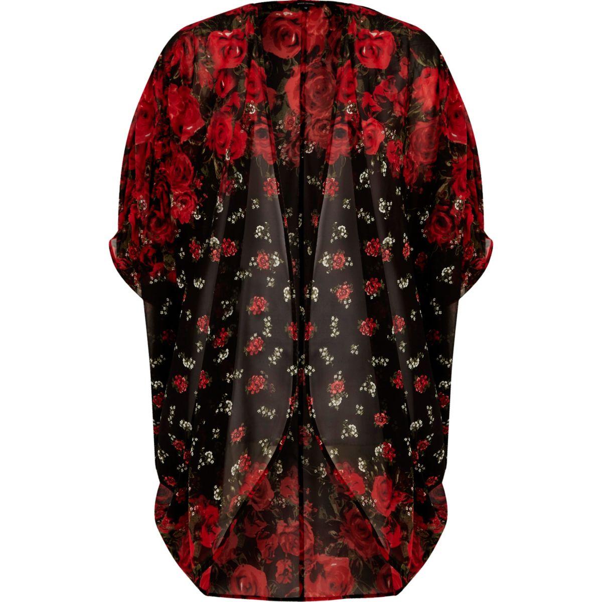 Red floral print longline cardigan