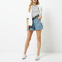 Petite white ruched sleeve blazer jacket