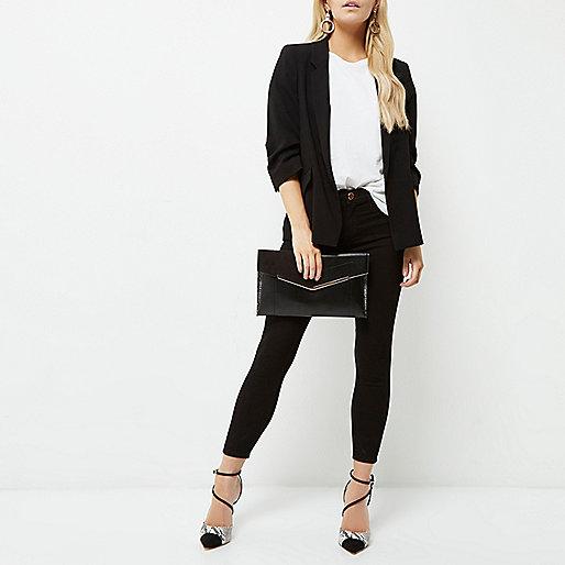 Petite black ruched sleeve blazer
