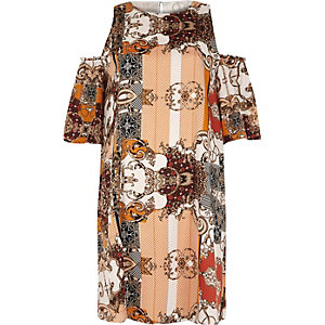 Orange print cold shoulder swing dress