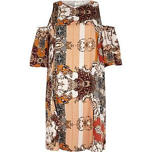 Orange print cold shoulder swing dress