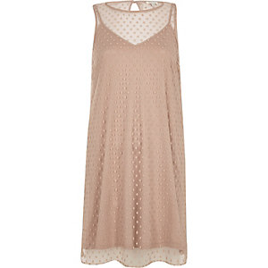 Nude dobby mesh sleeveless dress