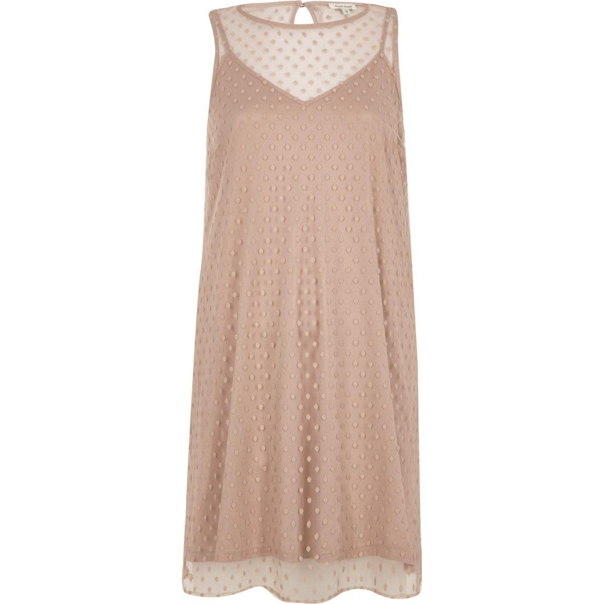 Nude dobby mesh sleeveless dress