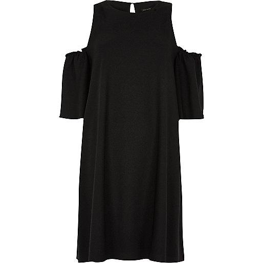 Black cold shoulder swing dress