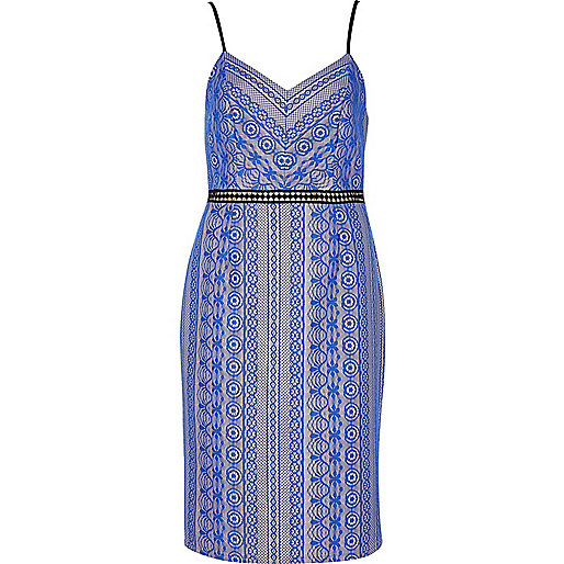 Blue lace bodycon cami dress
