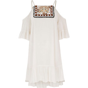 Besticktes Swing-Kleid in Creme