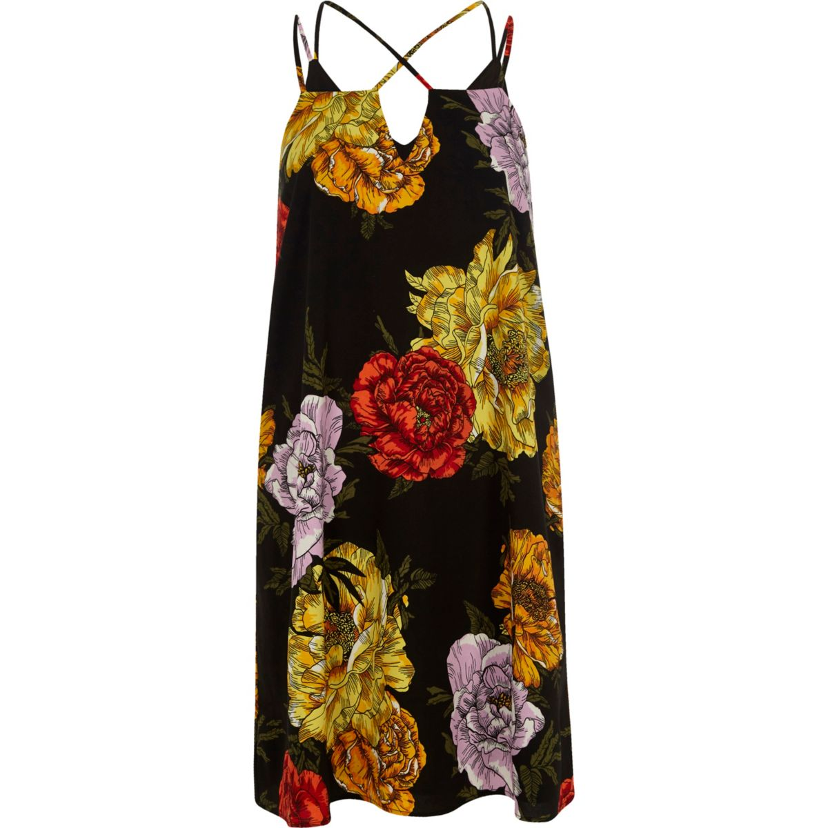 Black floral print cross strap slip dress