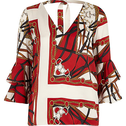 Red scarf print double bell sleeve top