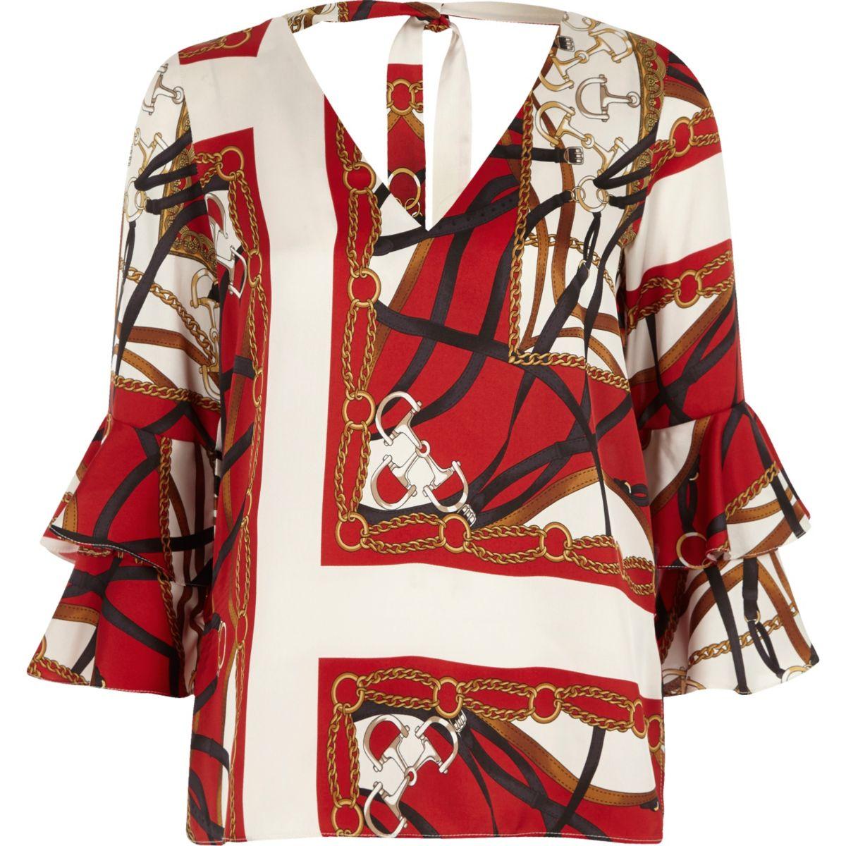 Haut imprimé foulard rouge à doubles manches évasées