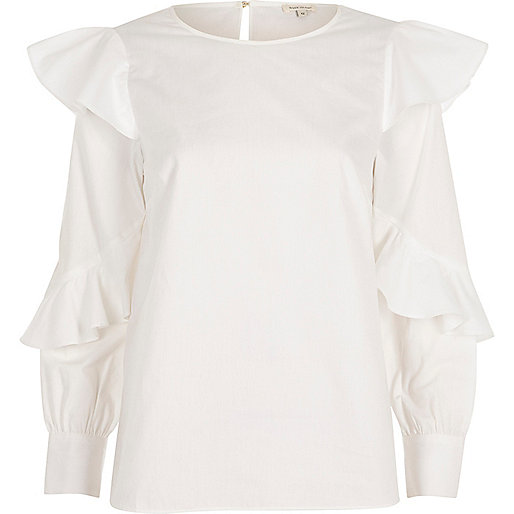 White poplin frill top