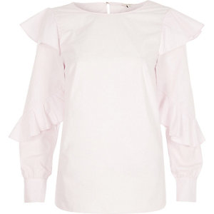 Pink frill sleeve loose shirt