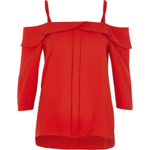 Red cold shoulder frill top