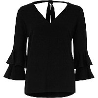 Black double bell sleeve top