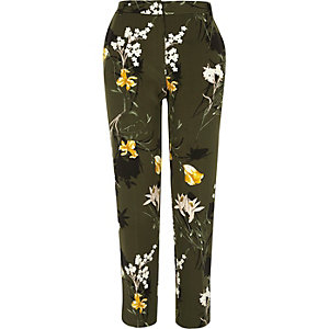Khaki floral tapered slim fit trousers