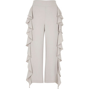 Grey cropped ruffle wide leg trousers