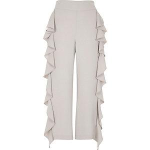 Grey cropped ruffle wide leg trousers