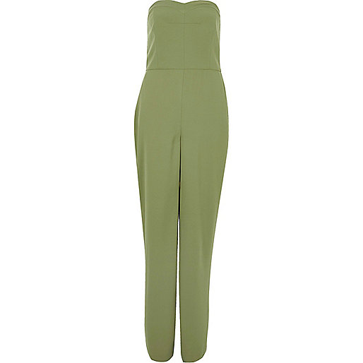Green wide leg bandeau jumpsuit
