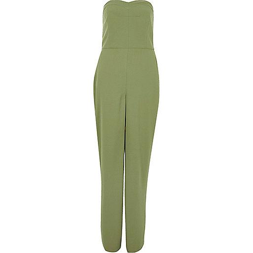 Green wide leg bandeau jumpsuit