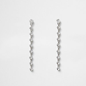 White silver tone rhinestone drop earrings