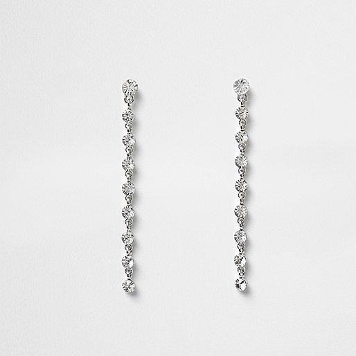White silver tone diamante drop earrings