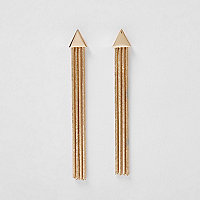Gold triangle tassel drop earrings