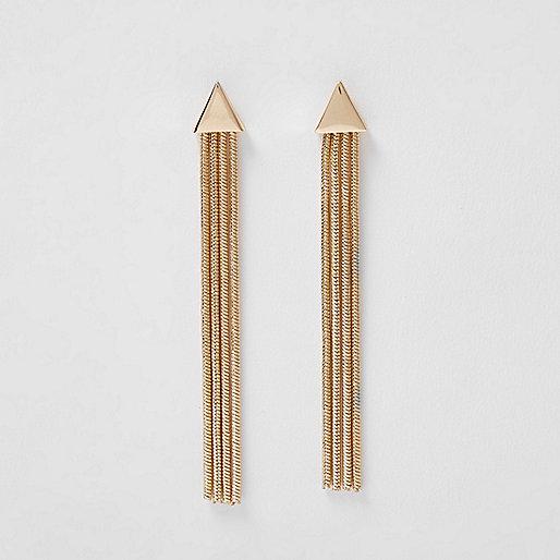 Gold triangle tassel drop earrings