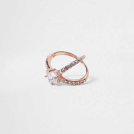 Rose gold tone rhinestone cross ring