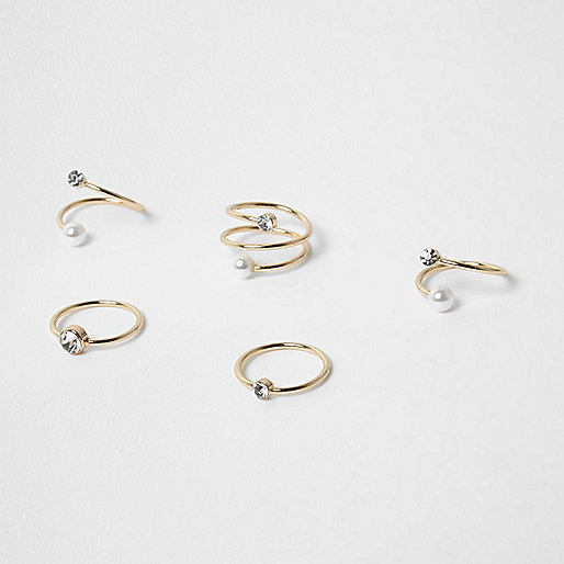 Gold tone pearl twist ring pack