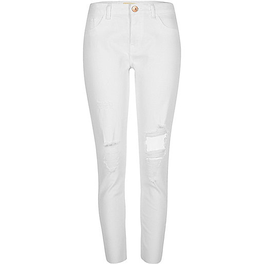 White ripped Alannah relaxed skinny jeans