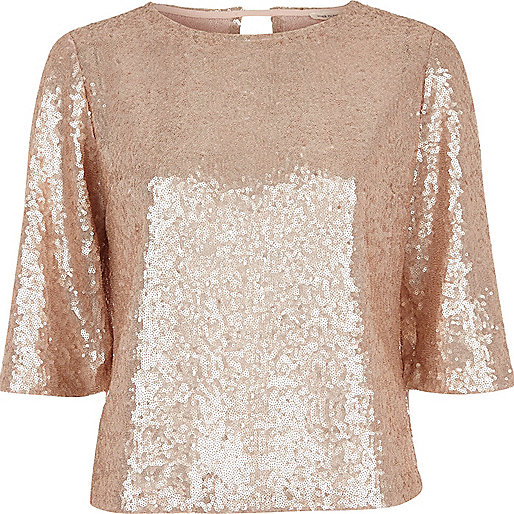 Gold sequin flute sleeve top