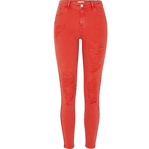 Amelie – Rote Superskinny Jeans