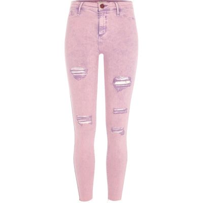 Molly Roze acid wash ripped jegging