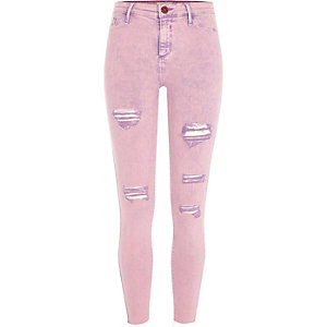 Molly - Roze acid wash ripped jegging
