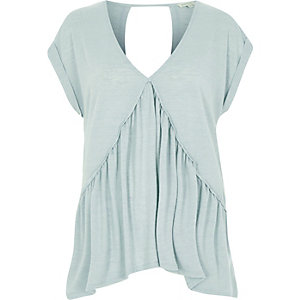 Light green hanky hem V neck top
