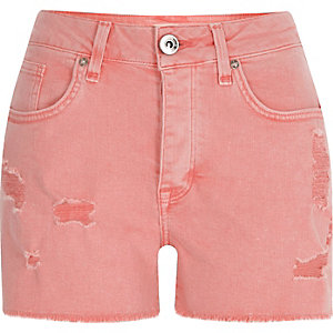 Pink distressed denim boyfriend shorts