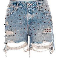 Blue studded ripped denim boyfriend shorts