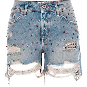Blue studded ripped denim boyfriend shorts