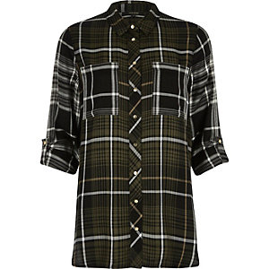 Green mixed check shirt