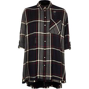 Navy check print distressed shirt