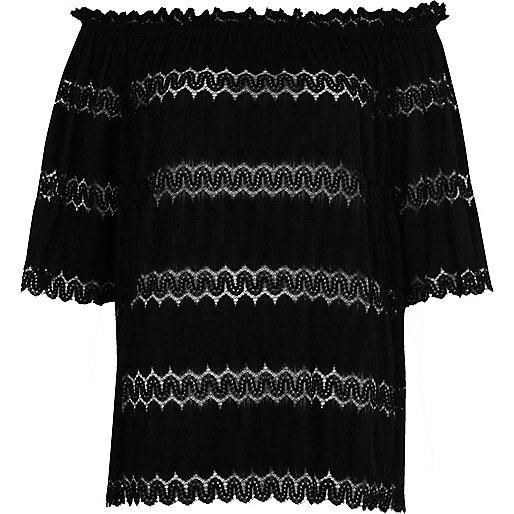 Black lace trim bardot top