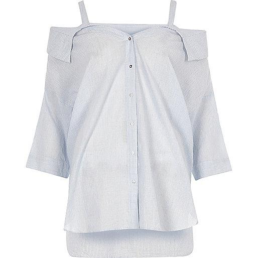 Blue stripe cold shoulder deconstructed top