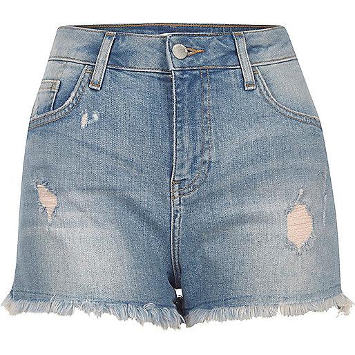 Mid blue wash distressed denim shorts