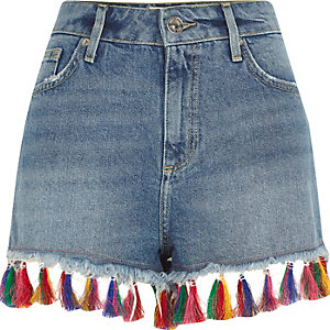 Mid blue tassel hem denim shorts
